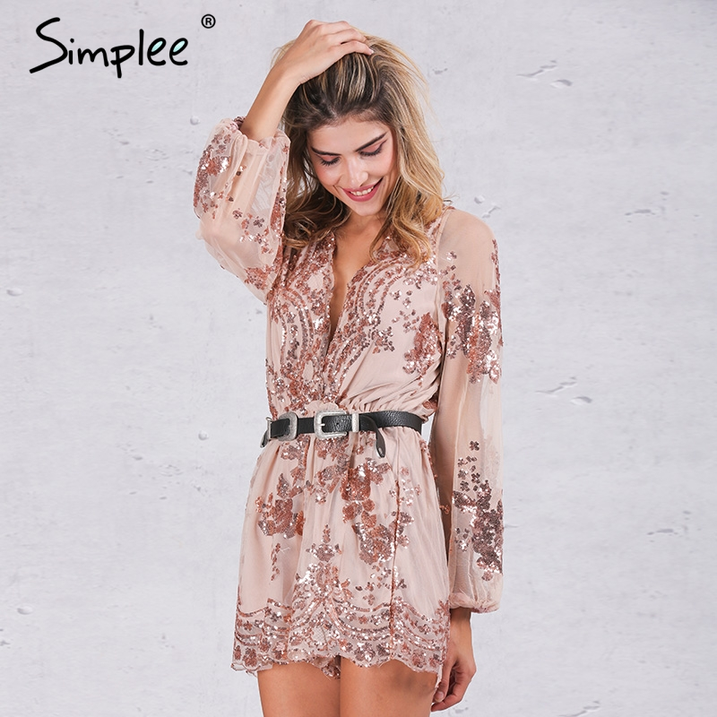 Simplee Sexy v-neck gold sequin embroidery women playsuit Elegant jumpsuit romper Transparent mesh sleeve playsuit short overall