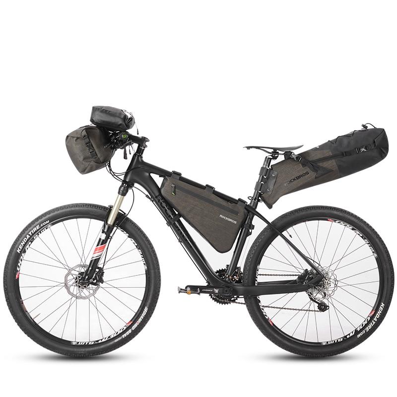 RockBros Cycling Bicycle Frame Bag Reflective Small Bike Triangle Bag Black