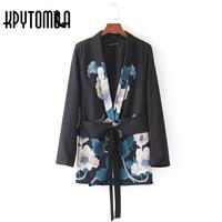 Vintage Ethnic Wave Flower Print Sashes Blazer Women 2017 New Fashion Suit Long Sleeve Office Lady