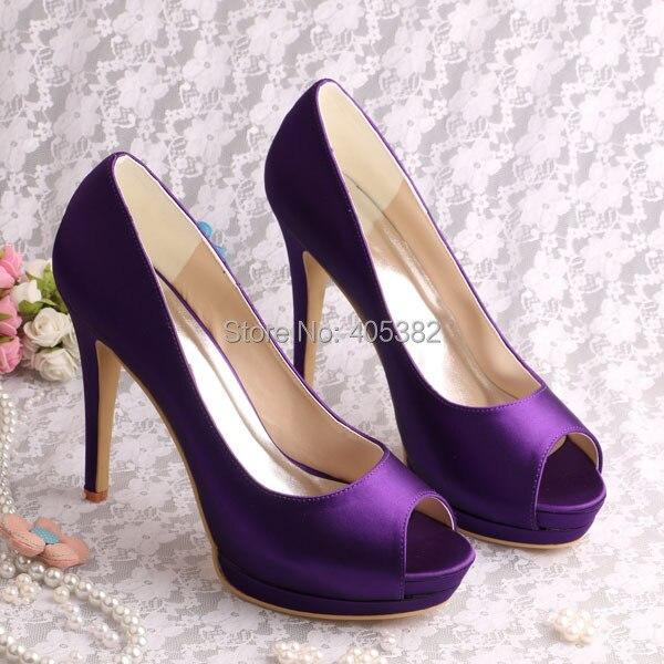 где купить Wedopus Custom Handmade Open Toe Platform Heel Wedding Bride Shoes Purple Satin Special Occasion Shoes по лучшей цене