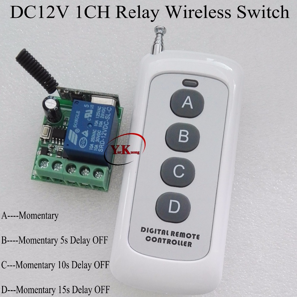 цена на Timer Remote Switch DC12V Time Delay Ajustable RF Wireless Controller Power ON OFF Relay Contact Remote 5s 10s 15s time delay