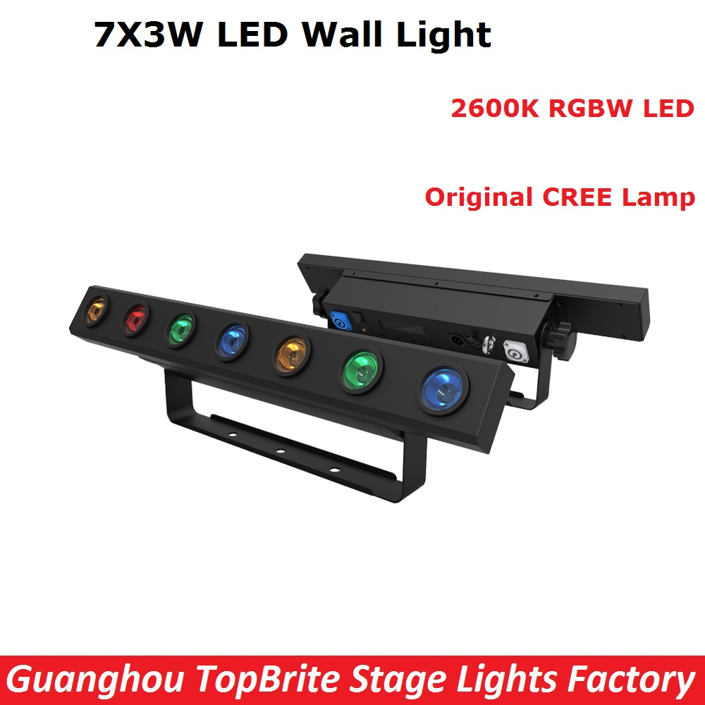 New Arrival 1XLot LED Stage Light 7X3W RGBW 4IN1 LED Bar Wall Wash Light DMX512 High Quality Indoor Entertainment Equipments 6pcs lot 24x4w 4in1 led wall washer light outdoor rgbw led flood light dmx 512 led bar light 90v 240v led stage light