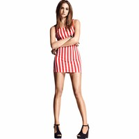 Striped Women Mini Dress Fashion Print Sheath Summer Dress For Women New Fashion Sexy Red Retro