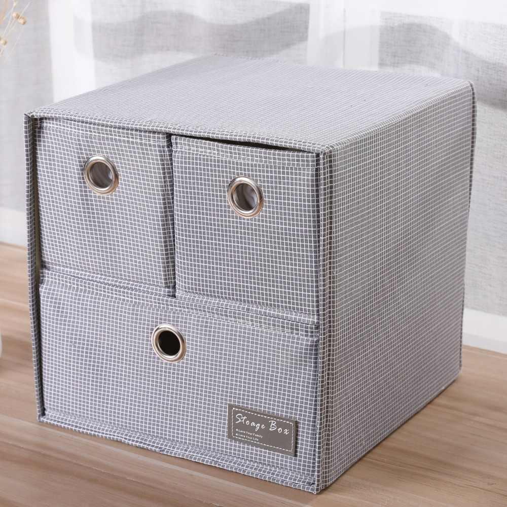 Grande Oxford pano dobrável Organizador Cueca Dobrável Casa Meias cesta de armazenamento Caixa de Armazenamento de Gaveta Organizador Do Armário Para Lenços