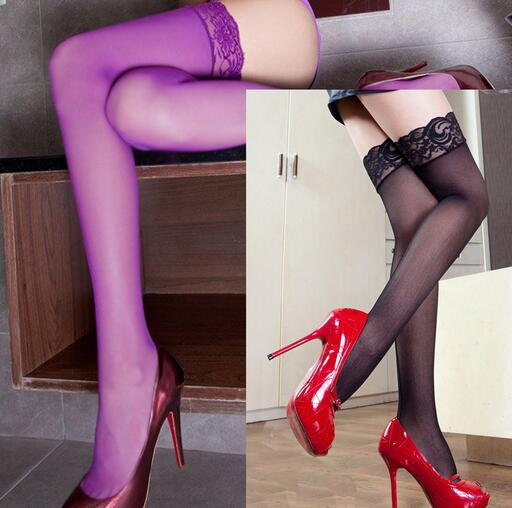 2018 NEW Women Lady Purple Thin Stockings Lingerie Elastic Transparent Black Tights Thigh Pantyhose Hosiery Female Sexy Stocking
