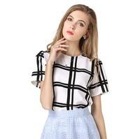 2017 New Fashion Women Summer Chiffon Blouse Shirts Tops Casual Loose Black White Plaid Blouses Blusas