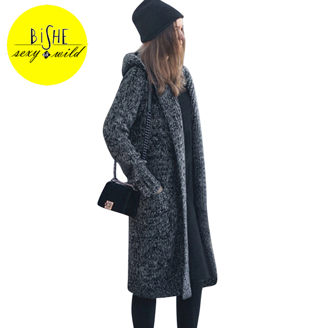BiSHE Long Hooded Cardigan Women 2017 Autumn Gray Female Large ...