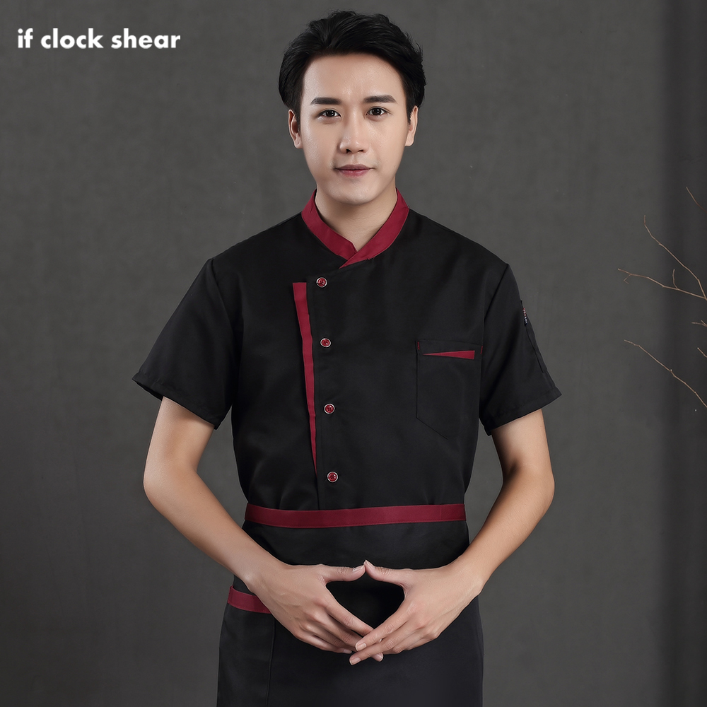 Restaurant Hotel Chef Uniform Kitchen Catering Work Jacket Short Sleeves Single-breasted Male Cooker Shirt M-4XL Hotel Uniform