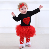 4PCS Baby Girls Clothing Long sleeved Bodysuits+Tutu Skirt+A Pair Socks +Headband Infant Sets Cute Autumn Toddler Costume 3 18M
