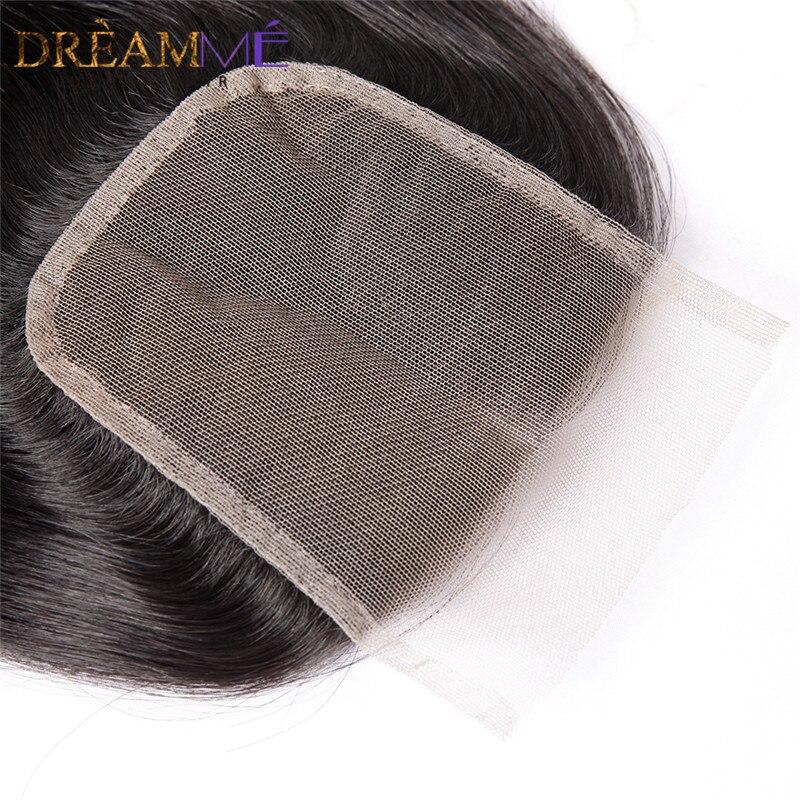 Dreamme brazilski naravnost lasje zaprtje prosti / srednji / tri del - Človeški lasje (za črne) - Fotografija 2