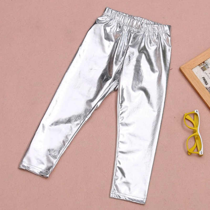 Mallas Elasticas De Alta Calidad Para Nina Pantalones De 3 A 10 Anos Ajustados Dorados Plateados De Metal Con Lentejuelas De Cuero Fuax Para Bebe Pantalones Aliexpress