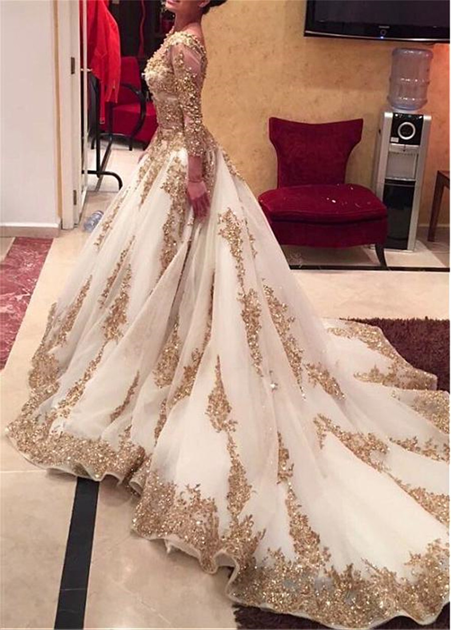Luxury Tulle V neck Neckline A line See Through Wedding Dresses with Beaded Lace Appliques Two Pieces Gold Bridal Gowns-in Wedding Dresses from Weddings & Events