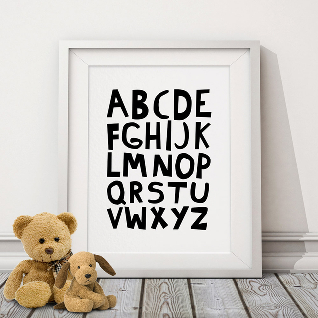 Abc alphabets canvas painting nursery posters prints black and white wall art pictures for kids baby