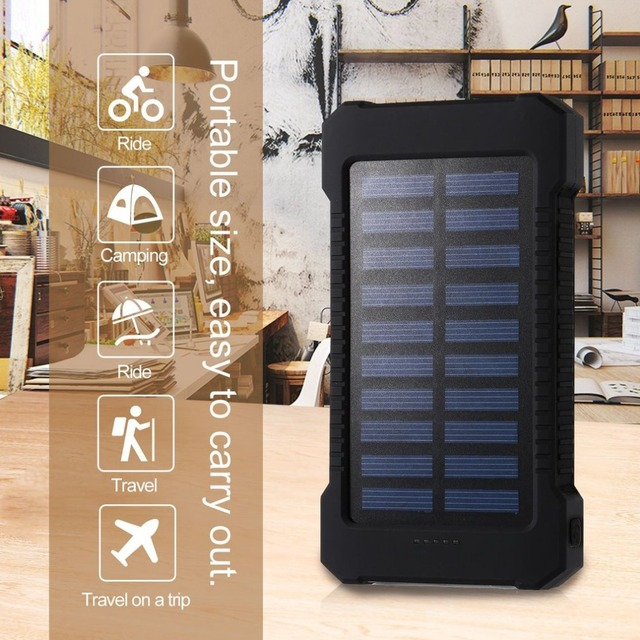 For Xiaomi Smartphone with LED LightSolar Power Bank Waterproof 30000mAh Solar Charger Ports External Charger Powerbank