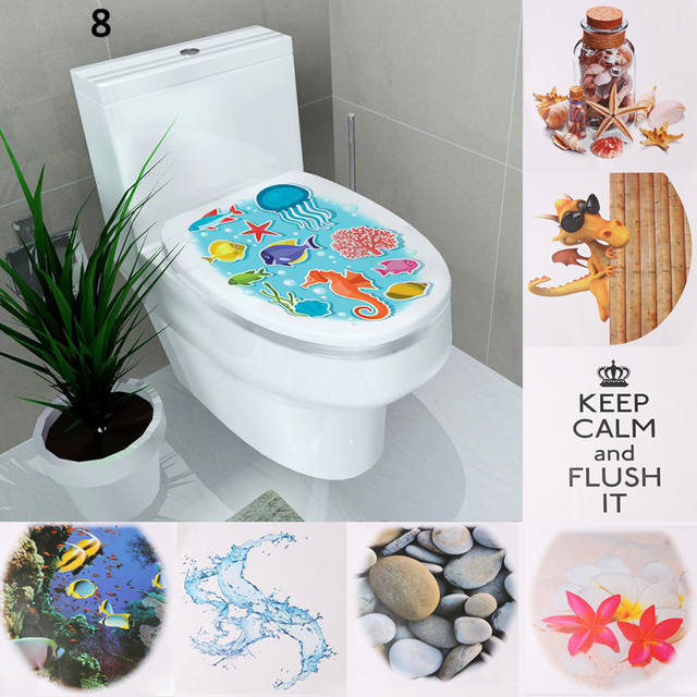 1PC WC Sticker Toilet Cover Toilets Tedestal Commode Sticker Home ...