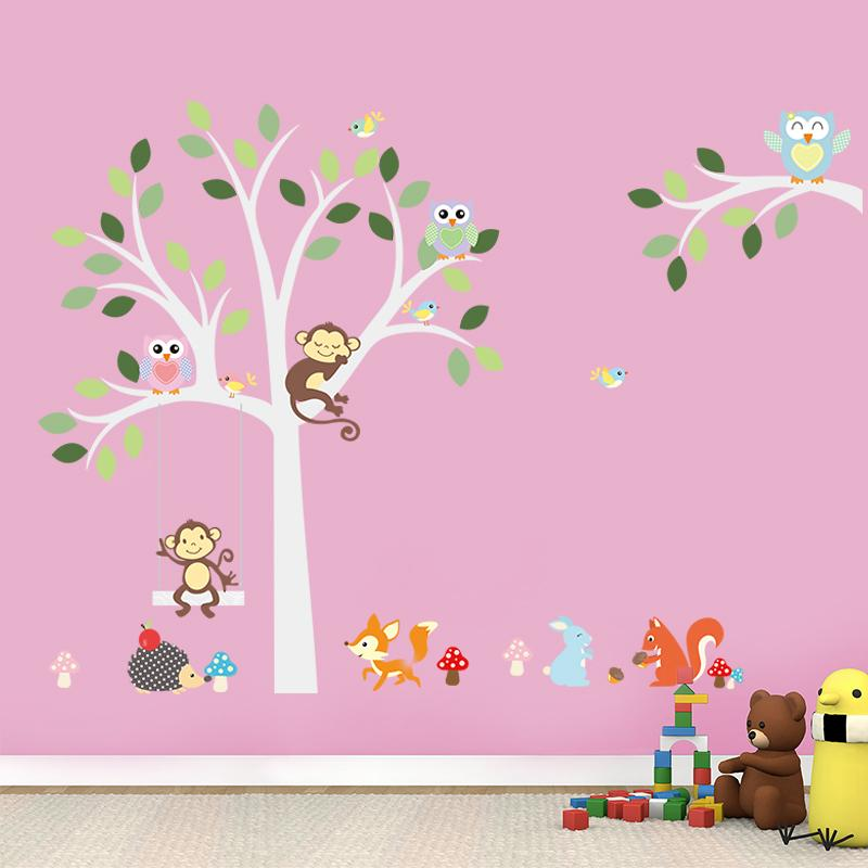 Cute Jungle Animals Wall Stickers Kids Room Decoration 1224 Home