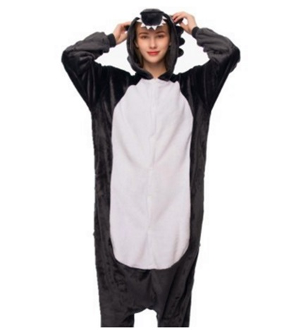 Big grey Wolf flannel thickening cartoon animal conjoined pajamas home lovely men and womens pajamas