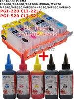 Для CANON IP3600 IP4600 IP4700 MX860 MX870 MP540 MP550 MP560 MP620 MP630 MP640 многоразовый чернильный картридж + 5 цветных красителей 500 мл