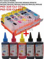 Für CANON IP3600 IP4600 IP4700 MX860 MX870 MP540 MP550 MP560 MP620 MP630 MP640 nachfüllbare tinten patrone + 5 Farbe Farbstoff tinte 500ml