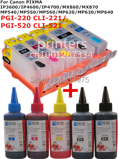 For CANON IP3600 IP4600 IP4700 MX860 MX870 MP540 MP550 MP560 MP620 MP630 MP640 refillable ink cartridge+ 5 Color Dye Ink 500ml pgi 520 cli 521 refillable ink cartridge for canon pixma ip3600 ip4600 ip4700 mx860 mx870 mp540 mp550 mp560 mp620 mp630 mp640