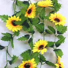 240cm Fake Silk Sunflower Ivy  Vine Artificial Flowers With Green Leaves Hanging Garland Garden Fences Home Wedding Decoration