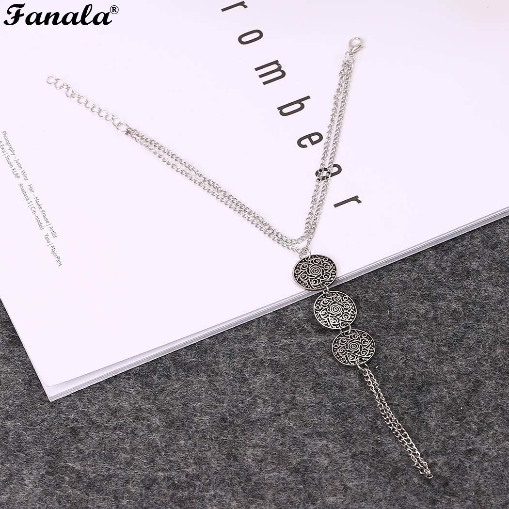New Women Coins Fashion Vintage Chain Carved Style Jewelry Beach Anklet Barefoot