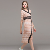 High Quality Dress 2017 Womens Lace Elegant Striped Vintage Ladies Evening Party Club Ukraine Fall Fashion Split Sexy Dresses