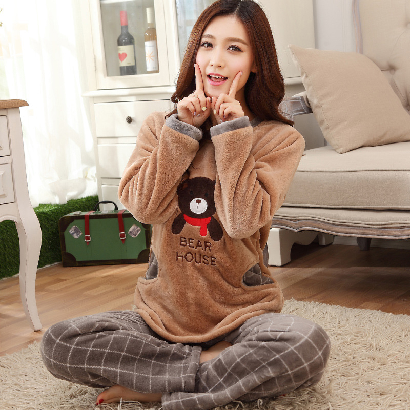 Flannel Plaid Brown Women's   Pajamas     Set   Coral Fleece Thick Warm Home Clothes Women 2 Pieces Winter Negligee   Pajama     Sets   Female