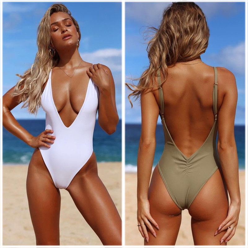 <font><b>one</b></font> <font><b>piece</b></font> swimwear women <font><b>2018</b></font> <font><b>sexy</b></font> deep v <font><b>swimsuit</b></font> solid backless swimwear bandage halter <font><b>bathing</b></font> suit maillot de bain femme image