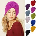A232 Baroque Style Ladies Winter Chunky Knit Floral Turban Beanie Ski Chemo Hat
