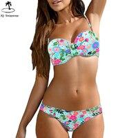 2018 Bikini Womens Halter Floral Push Up Underwired Swimwear Bikini Tribal Bandeau Floral Bathing Suit Beach