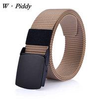W PIDDY Men Belts Fashion Smooth Buckle Canvas Elastic Top Quality Nylon Men Belt Woven Belt