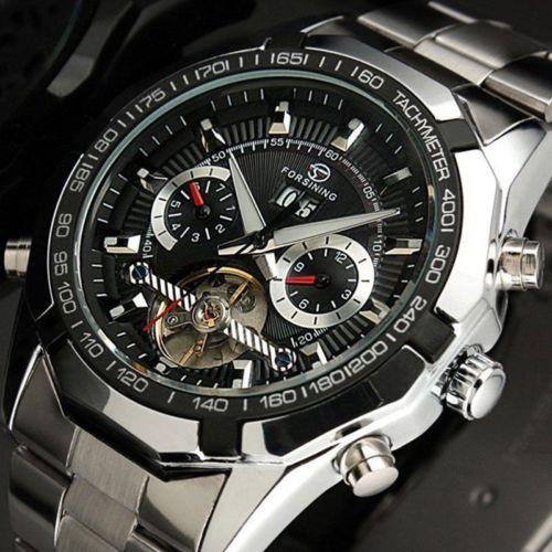 Prix pour Forsining tourbillon montres mens montre automatique hommes de luxe marque célèbre en acier inoxydable mécanique montre orologio uomo hodinky
