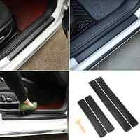 4 piezas Universal de fibra de carbono para coche pegatinas para puerta con tapa antiarañazos Protector de puerta para coche calcomanías para coche