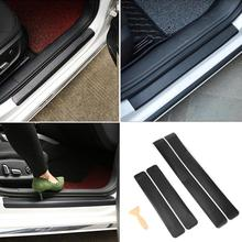 4Pcs Universal Carbon Fiber Car Stickers Door Sill Scuff Anti Scratch Auto Protector Film Sticker Decals Styling