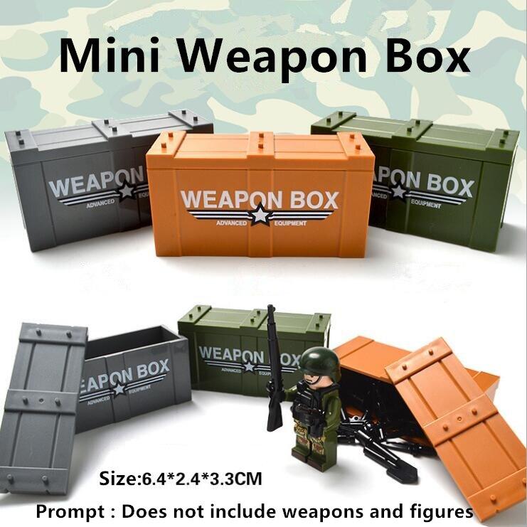 Single Sale Mini Weapon Box model Building Blocks DIY toys Compatible LegoINGlys With Weapons Action Figure Toys