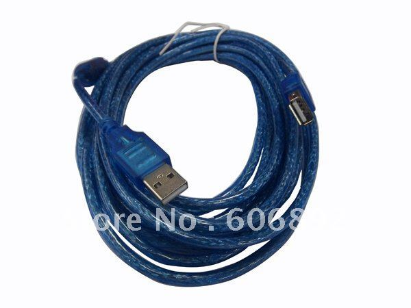 2pcs/lot USB Male to Female Extension USB Cable 5M/15ft with signal magnetic ring, hot sale free shipping
