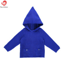 Yes.sister Knitting Winter Toddler Girls Sweaters Tops Autumn Kids Jacket blue Long Sleeve Hooded Coat 6m-5t Fashion