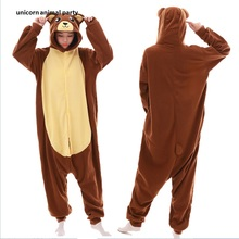 Kigurumi Onesie Brown Bear Pajamas Sleepsuit Sleepwear Anime Cosplay Costume Unisex Cartoon Pyjamas Piece Halloween