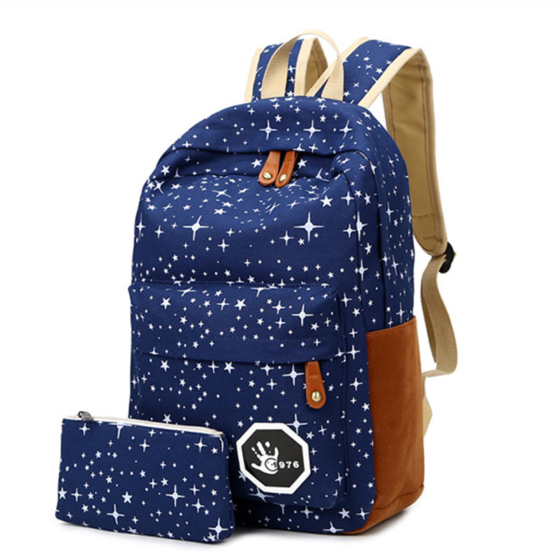 Women Backpack For Teenage Girls School Bags Rucksack Back Pack Canvas Cute Stars Printing Backpack Set For Children Q3