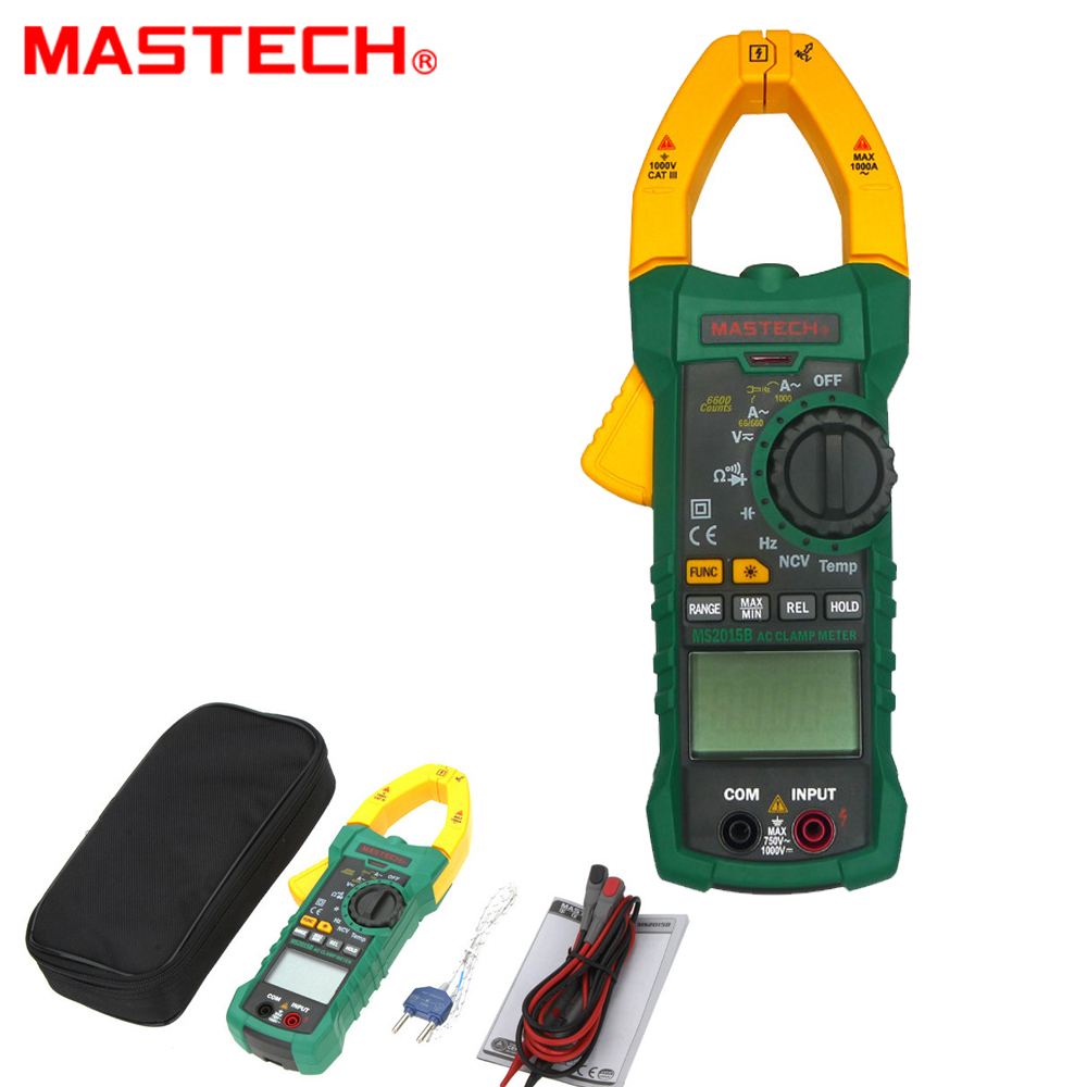 MASTECH MS2015B 6600 counts 1000A AC Clamp Meters w/Capacitance Frequency Temperature & NCV Test mastech ms8260f 4000 counts auto range megohmmeter dmm frequency capacitor w ncv