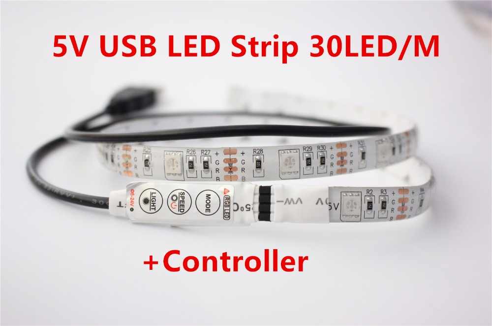 White PCB 0.5M 5V USB LED strip 5050 RGB flexible light IP65 Waterproof 60LED/m,TV Background Lighting Strip with controller