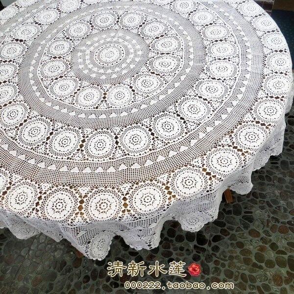 ZAKKA blanco de lujo de algodón crochet mantel redondo para la ...