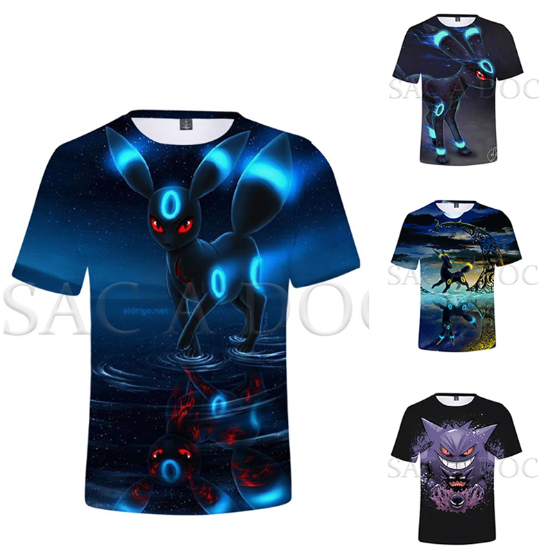 Pokemon Gengar Umbreon 3D Print T Shirt Men Women Streetwear Casual Tshirt Pokemon Tee Tops Summer Short Sleeve T-shirt image