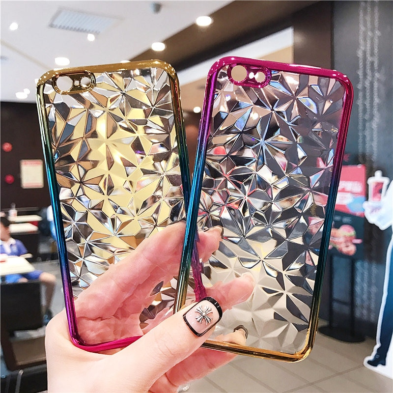 3D Gradient Diamond Plating TPU Cover For HUAWEI P20 Pro Case RainBow Soft Coque For HUAWEI P20 Lite P9 P10 Lite Y6 Y7 2018 Capa