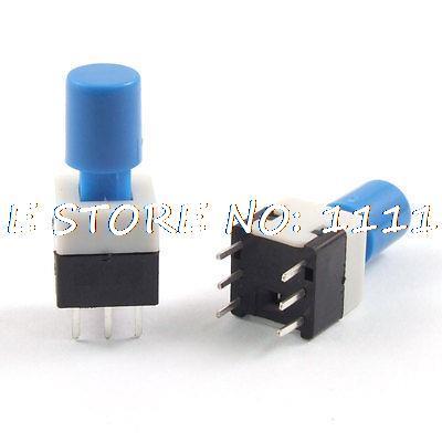 10pcs 8 x 8 x 14mm Blue Cap PCB Push Button Tact Tactile Switch Lock 6 Pin DIP