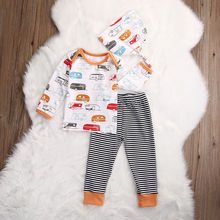 Toddler Infant Baby Kids Boy Girl Car Print T-shirt Top+Pant Legging Outfit Set