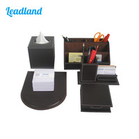 Office Desktop Organizer Pen Holder Memo Box Mouse Pad Business Card Stand Display Stationery Desk Set T45