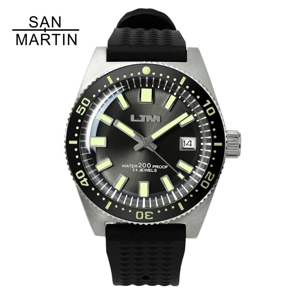 San Martin 62MAS Hommes Montre Automatique En Acier Inoxydable Montre de plongée 200 m Résistant À L'eau Plein Lumineux Lunette Relojes Hombre 2018