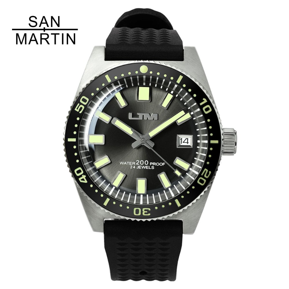 San Martin 62MAS Men Automatic Watch Stainless Steel diving Watch 200m Water Resistant Full Luminous Bezel Relojes Hombre 2018 relojes full stainless steel men s sprot watch black and white face vx42 movement